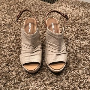 Beige soda wedge sandals